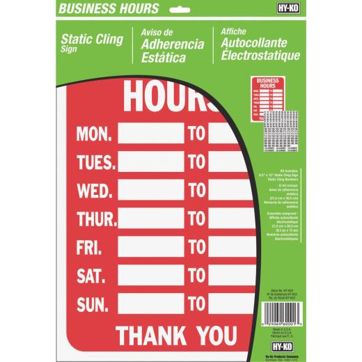 Hy-Ko Static Cling Sign, Business Hours