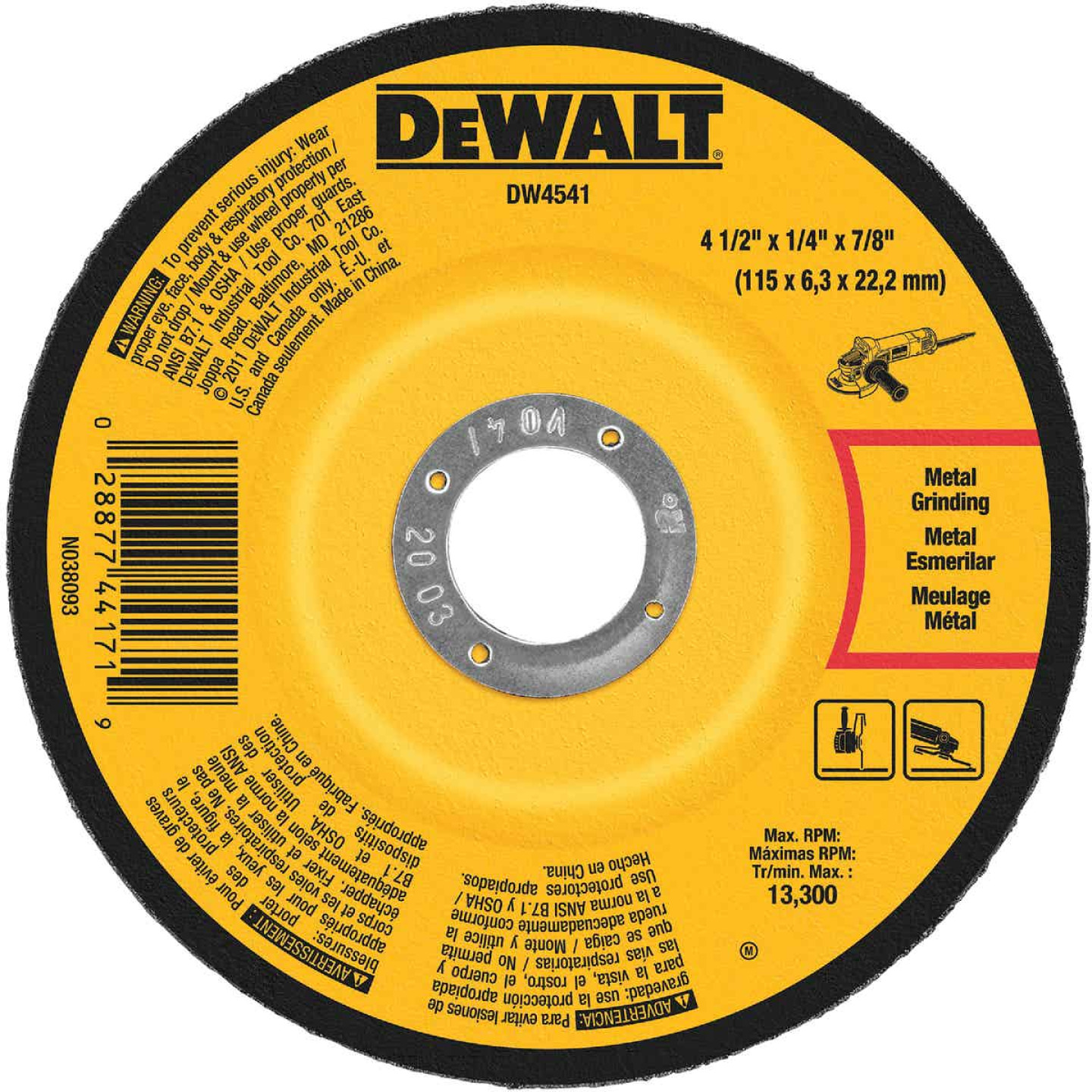 DeWalt HP Type 27 4-1 In. x 1/4 In. x 7/8 In. Metal/Stainless Grinding Cut-Off Wheel Image 1