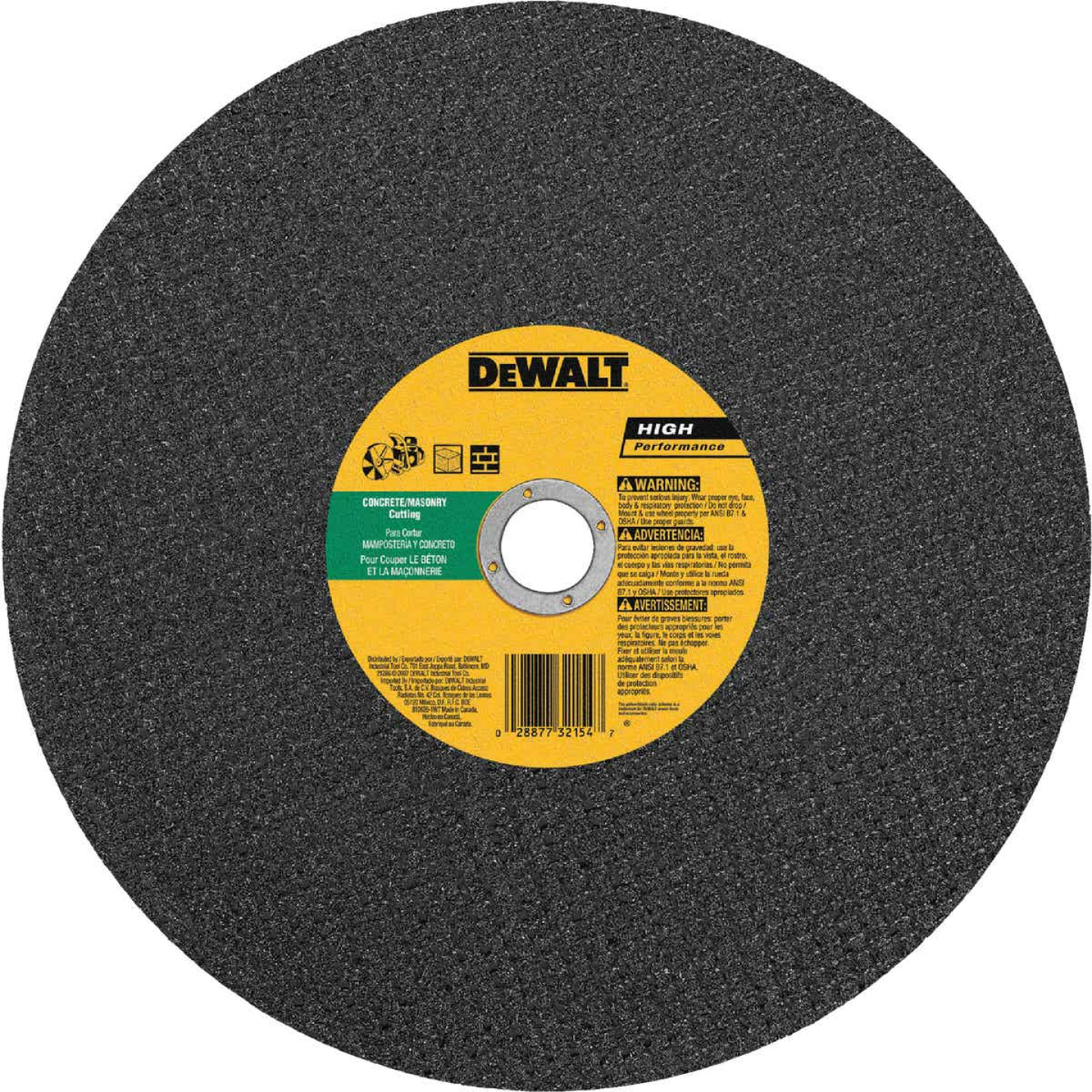 DeWalt HP Type 1 14 In. x 1/8 In. x 20 mm Masonry Cut-Off Wheel Image 1