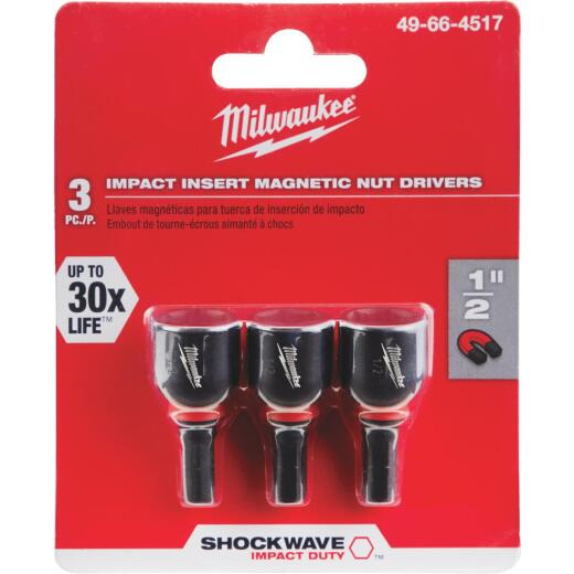 Milwaukee 1/2 In. x 1-1/2 In. Insert Impact Nutdriver, (3-Pack)