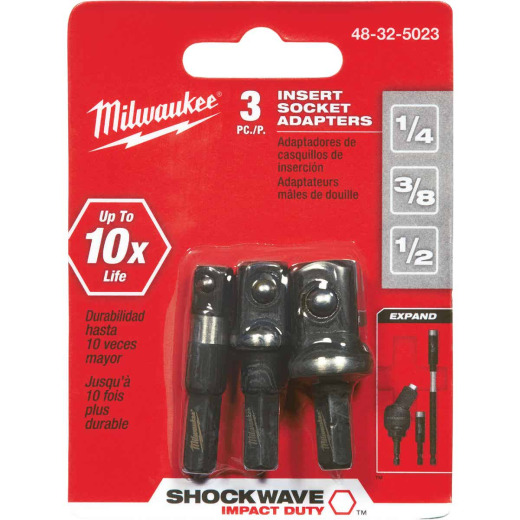 Milwaukee Socket Adapter Set, 3 Piece