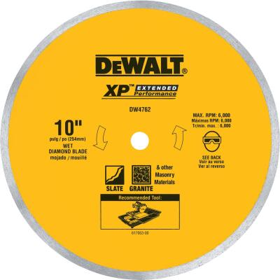 DeWalt Extended Performance 10 In. Continuous Rim Dry/Wet Cut Tile Diamond Blade