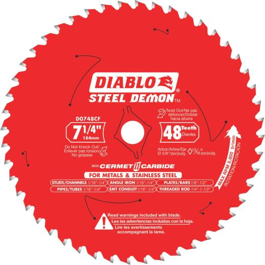 Diablo Steel Demon 7-1/4 In. 48-Tooth Cermet Carbide Metals & Stainless Steel Circular Saw Blade