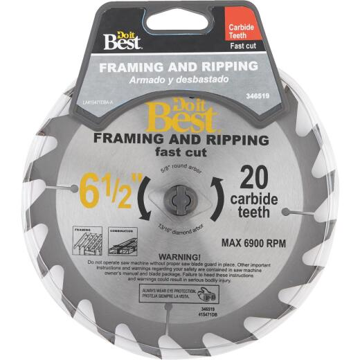 Do it Best 6-1/2 In. 20-Tooth Framing & Ripping Circular Saw Blade