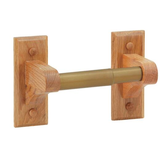 Home Impressions Medium Oak Wall Mount Toilet Paper Holder