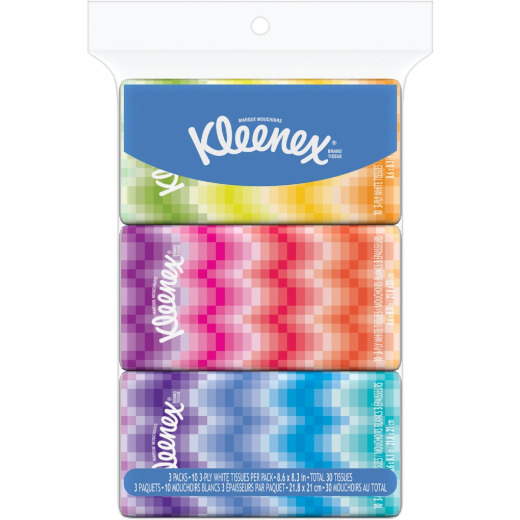 Kleenex Go Packs 10 Count 3-Ply White Facial Tissue (3-Pack)