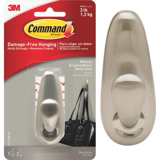 Command 1-1/4 In. x 3-1/4 In. Decorative Fashion Classic Metal Adhesive Hook