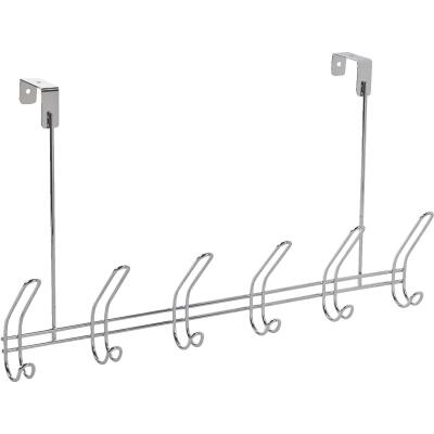InterDesign Classico Over-The-Door Chrome 6-Hook Rail