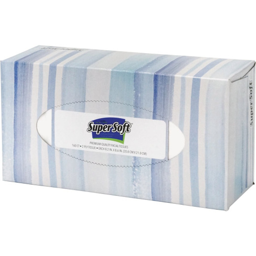 Super Soft 2-Ply White Facial Tissue (160 Count)