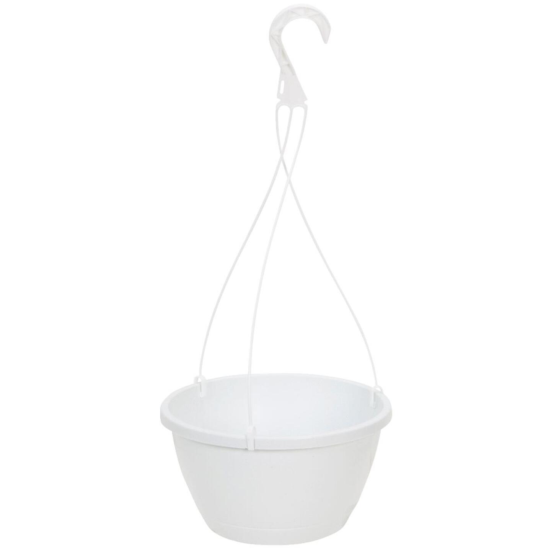 Myers 10 In. Polypropylene White Hanging Plant Basket Image 1